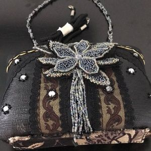 Bags - Black with Multi Colored Beads & Rhinestone Bag